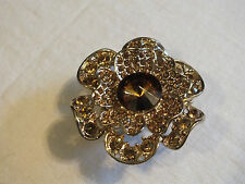 Stunning Gold Tone Cocktail Ring Stretch Chunky Filled Amber Rhinestones Flower