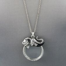 Antique Silver Finish Chain Elephant Magnifying Glass Pendant Necklace