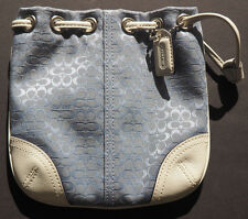 COACH Signature C Blue  and White Leather Drawstring WRISTLET - Never used