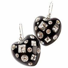ZSISKA Tutti Frutti Black Heart with Swarovski crystals earrings