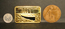 Titanic 24ct gold plated commemorative + 1912 George V Silver Threepence & Penny