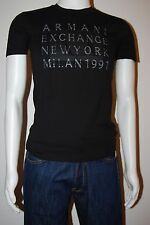 New Armani Exchange Muscle AX 1991 New York Tee T-Shirt In Black Size Small