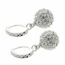 Fashion Womens 925 Sterling Silver Crystal Rhinestone Hoop Earrings Jewelry