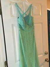 Teal Green Blue Prom Dress Davids Bridal size 2
