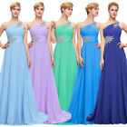 New Long One Shoulder Evening Bridesmaid Cocktail Formal Party Ball Gown Dress