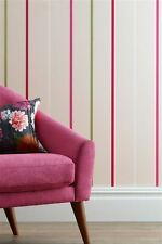 1x Next Pink Green White Thin Chalk Multi Stripe Batch 4 Wallpaper Roll Feature