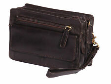 Mens Wrist Leather Bag BROWN Clutch Travel Money Organiser Cab Mobile Handbag