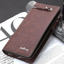 Men's Business Long Wallet Brown Leather Multi Slots Clutch Checkbook Handbag