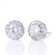 18k white gold filled white Simulated Diamond girl's lovely party stud earring