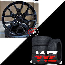 """24"""" Gloss Black CV98 Style Wheels With Tires For Chevy GMC Tahoe Sierra Suburban"""