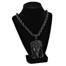 "Black Jesus Piece Pendant Rope Chain Chunky Mens 30"" inch 10 MM Hip Hop Necklace"