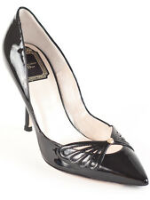 New  Christian Dior Butterfly Black Patent Leather Pumps  38.5 US 8.5