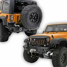 Front Bumper+Rear Bumper+Tire Carrier+Hitch receiver For 07-17 Jeep JK Wrangler