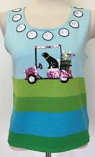 Michael Simon Women's Small Blue Aqua Green Golf Balls Cart Dog Sweater Sequins