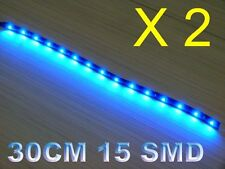 2x 12'' Waterproof Car Motorcycle Light Flexible Decorative Light LED Strip Blue