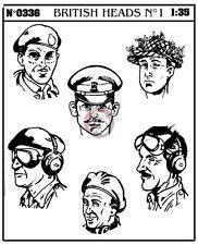 Verlinden 1/35 British Soldier / Officer Heads WWII (6 heads) [Resin Figure] 336