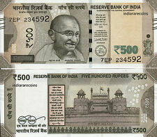 INDIA 500 Rs Urjit Patel 2017 Flag Red Fort L Inset Paper Money Bank Note UNC