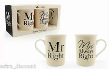 Mr & Mrs Always Right Boxed Cups Mugs Joke Drink Wedding Couple Gift Xmas