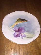 Antique Flambeau Limoges Artist Signed Hand Painted Osprey Game Fish Wall Plate