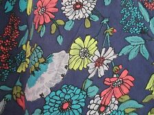 Pure Silk French Connection  short sleeves Washed Silk blue floral dress size 8