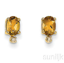 Genuine Citrine and Diamond Earrings 14k Yellow Gold