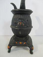 Cast Iron Pot Belly Stove Dollhouse Miniature Vintage Painted Dutch Flowers Lid