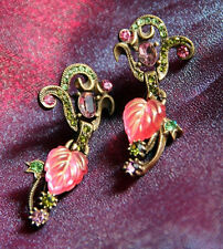 NEW SWEET ROMANCE ART NOUVEAU STYLE COLORFUL GLASS LEAVES PIERCED EARRINGS