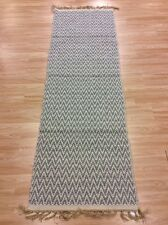 GREY CREAM CHEVRON Handmade Cotton REVERSIBLE Washable RUG RUNNER 70x200cm 40%OF