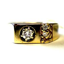 14k yellow gold mens .39cttw VS1 K diamond nugget ring gents 7.5g antique estate