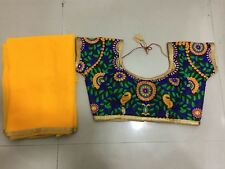 indian kutch SARI EMBROIDERY READYMADE CHOLI blouse pure Georgette saree