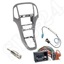 OPEL ASTRA J doppio-DIN Mascherina Pannello Radio Grigio Titanio ISO da auto Adattatore Antenna Set