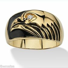 14K GOLD GP EAGLE BLACK ENAMEL CZ RING SIZE 8 9 10 11 12 13
