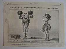 DAUMIER, LITHOGRAPHIE ORIGINALE, LA REGENERATION DE L'HOMME GYMNASTIQUE,LES BRAS