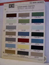 1968 Lincoln Continental Paint Chips Color Chart R-M 68