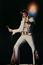 Elvis Presley Performing on Stage in His White Jump Suit, Microphone -- Postcard