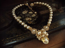 Vintage Gold, Baroque Pearl & Seed Beads Necklace, Very Miriam Haskell Style