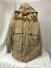 FIELD & STREAM Distressed Cowskin Cow Skin & Quilted Cotton Field Coat w/Hood XL