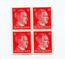 Block of Four World War 2  WW2 GERMAN 12P RED HITLER HEAD STAMPS - - -