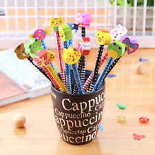 10Pcs Pencils With Cartoon Eraser Stationary For Children Kids School Writing