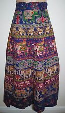 New Cotton Wrap Skirt 10 12 14 16 Hippy Ethnic India Ankle Length Hippie Peacock