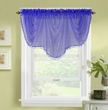 1pc BONITA PURPLE VOILE SHEER VALANCE SWAG TOPPER WINDOW CRYSTAL BEAD FRINGE