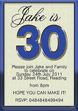 50 x Birthday Party Invitations 30th 40th 50th 60th 70th Mens Womens Age