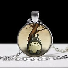 Anime My Neighbor Totoro new round pendant silver necklace chain mens vintage