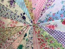 CLEARANCE Fabric Bunting 40ft~40 Flags Floral Mix Shabby Chic Weddings