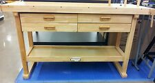Hardwood Reloading Bench, 60 Inch Oak - Sturdy Construction, 4 Drawers!