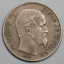 1859 DANISH WEST INDIES Silver 10 cents Virgin Is Sugar Cane Coin (16073101R)