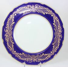 GILT ANTIQUE DINNER PLATE ROYAL DOULTON RA9939 RAISED GOLD ENCRUSTED COBALT BLUE