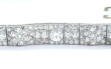 "Platinum Art Deco / Vintage Old European Cut Diamond Tennis Bracelet 7.5"" 9.78CT"