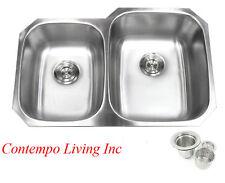 """32"""" Stainless Steel Double 40/60 Bowl 18 Gauge Undermount Kitchen Sink Strainer"""