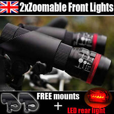 Twin CREE Q5 Bike Bicycle Cycle Zoomable Front Torch 5 LED Rear led Light Set